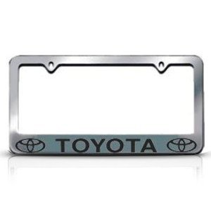 chrome toyota license plate frame with 2 bolt screws and 2 bolt screw covers
