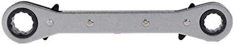 FLAMEER ラチェットレンチ 2本セット スチール オフセット ラチェット ダブルリング ボックスレンチ スパナ