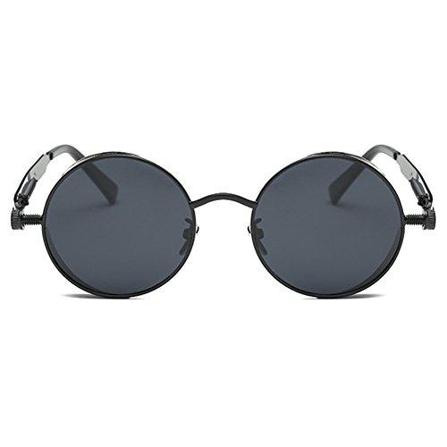 Noir Gris Lunettes Round Polarized de Mirrored soleil hibote Hommes Femmes Steampunk Gothique Cadre xPtqy67w