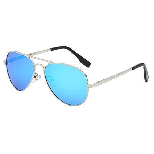 BEEAN Polarized Mirrored Sunglasses Classic Stylish Aviator Sun Glasses for Women Men, Silver, Blue