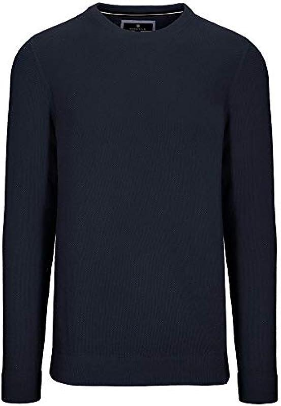 BASEFIELD męski sweter z okrągłym dekoltem niebieski granatowy melanż: Odzież