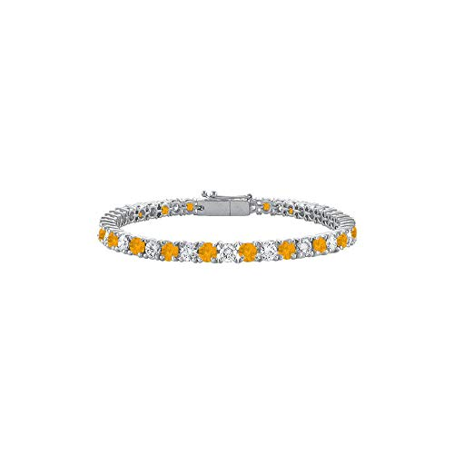 Sterling Silver Round Citrine and Cubic Zirconia Tennis Bracelet 5.00 CT TGW