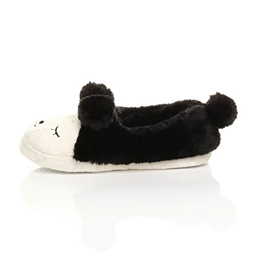 Womens Ladies Winter Fur Lined pom pom Novelty Bear Animal face Slippers House Shoes Black 70tUTm