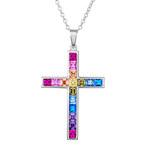 Crystal Sterling Silver Crucifix - 6