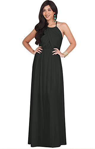 KOH KOH Womens Long Bridesmaid Sleeveless Cocktail Evening Prom Formal Special Occasion Floor-Length Beach Wedding Party Guest A-Line Flowy Gowns Maxi Dresses, Dark Gray Grey M 8-10