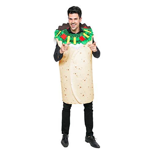 Spooktacular Creations Men Burrito Costume Adult Deluxe Set for Halloween Dress Up Party (Standrad) White ()