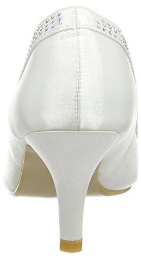 Spot On Diamante Trim 'Wedding' Court - Zapatos punta cerrada de satén para mujeres Blanco (White)