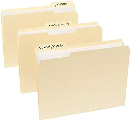 1//3 Cut Office Depot Brand File Folders Letter Size 100-Pk Manila