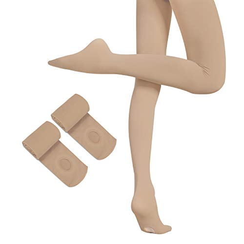 HETH Ballet Tights for Girls Toddler Ultra Soft Dance Ballet Convertible Tights With Holes(Coffee 2 Pairs,Large) from HETH