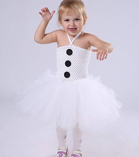 Tutu Dreams New Years Eve Party Snowman Costume for Toddler Girls with Red Scarf (L,White) - http://coolthings.us