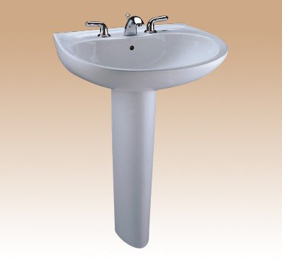 (TOTO LPT241G#11 Supreme Lavatory and Pedestal with Single Hole, Colonial White)