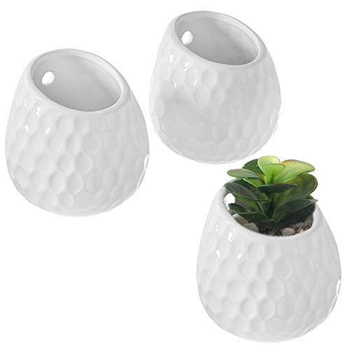 MyGift 4-Inch Golf Ball-Inspired White Ceramic Wall-Mountable Mini Planters, Hanging Succulent Pots, Set of -