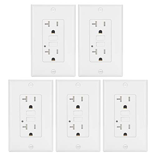 5 Pack - 20A GFCI Outlets by ELECTECK, Weather Resistant (WR) GFI with LED Indicator, Tamper Resistant (TR) Ground Fault Circuit Interrupter, Decor Wall Plates Included, ETL Certified, White