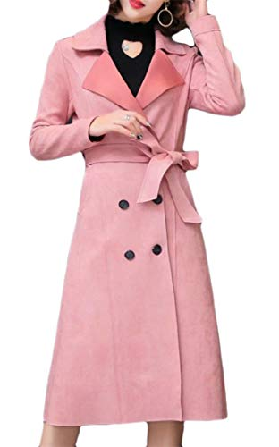 Etecredpow Womens Fall Winter Outerwear Lapel Sueded Casual Mid-Length Double Breasted Belted Trench Coat Pink L