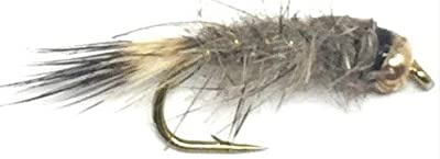 Feeder Creek Hare's Ear Natural Bead Head Nymph Fly Fishing Trout Flies - One Dozen Wet Flies - 3 Size Assortment 12,14,16 (4 of Each Size)