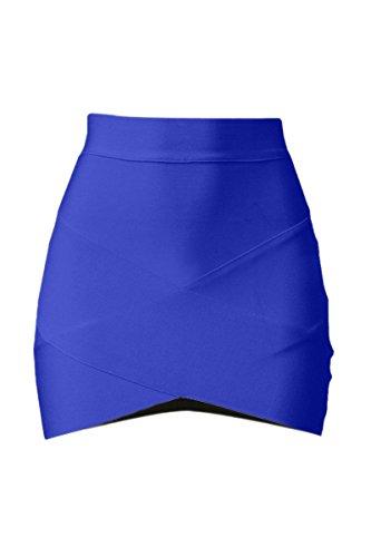 SODIAL (R)Dame elegante Casual Party a la mode pour femme Mini jupe court Stretch Bodycon Sexy Slim Bleu S