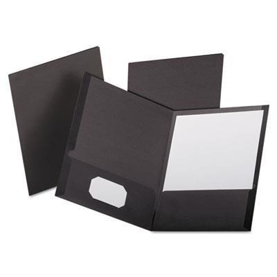 Linen Finish Twin Pocket Folders, Letter, Black,25/Box