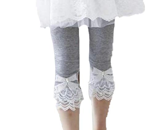 - Toddler and Girl Lace Ruffle Capri and Full Length Leggings. (Capri Gray, 4T)