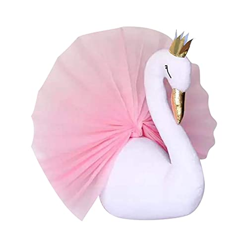 Swan Head Chiffon Decoration With Golden Pattern For Kindergarten Children's Room White 3D Gold Crown Swan Head Statue Cotton Wall Hanging Decoration for Bedroom and Dining Room