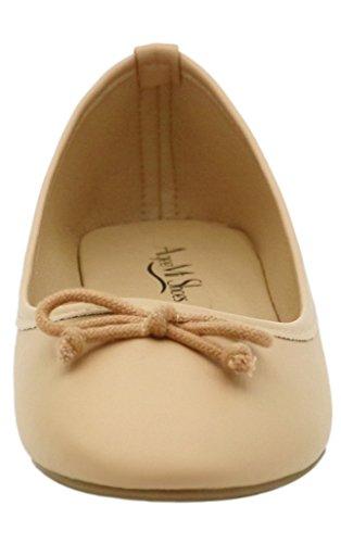 AgeeMi Shoes Mujer Sin Cordones Punta Redonda Sólido Plano con Bowknot Albaricoque