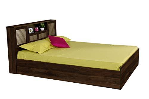 DeckUp Noordin Engineered Wood Queen Bed with Box Storage  Walnut, Matte Finish