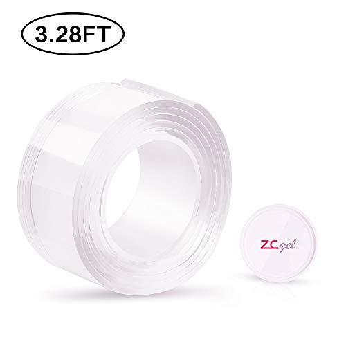 ZC GEL Removable Double Sided Tape 3.28FT/1M, Nano Tape with Washable, Reusable, Traceless Adhesive Tape for Home, Wall, Room, Office Decor