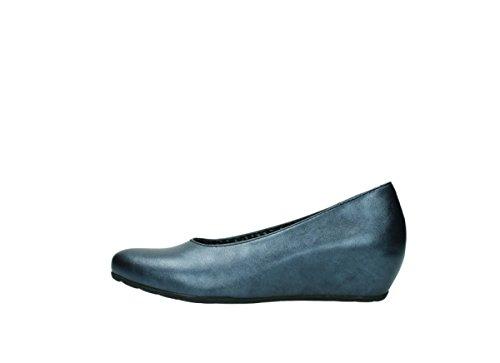 90800 Heels Blau nbsp;real Leder Metallic Wolky High 0565 pxqI5Uvz
