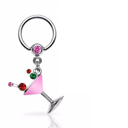 - Covet Jewelry Martini Glass Epoxy Gemmed Dangle 316L Surgical Steel