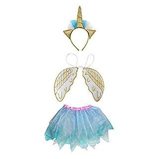 Rainbow Alicorn Costume Set with Unicorn Headband, Pegasus Wings and Tutu