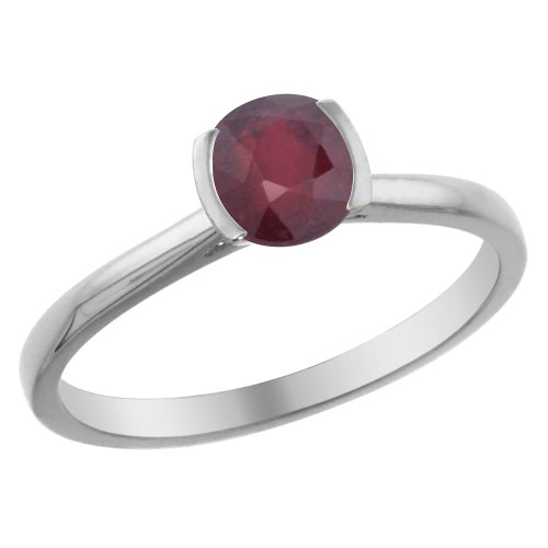 - 14K White Gold Natural Enhanced Genuine Ruby Solitaire Ring Round 5mm, size 5.5