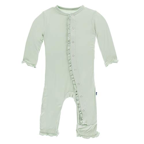Kickee Pants Little Girls Solid Layette Classic Ruffle Coverall with Snaps - Aloe, 3-6 Months ()