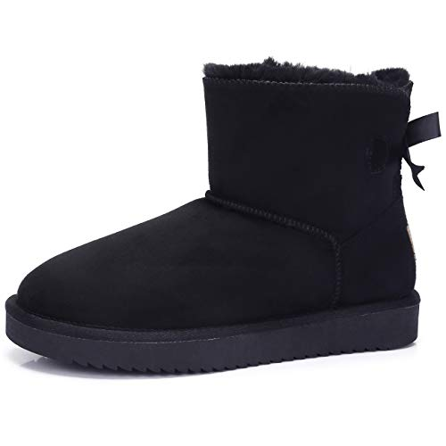 CAMEL CROWN Women's Warm Winter Boots Ankle High Classic Vegan Suede Warm Faux Sheepskin Shearling Snow Boots Black (Best Fashionable Warm Winter Boots)