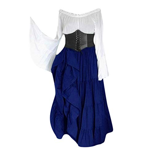 ℱLOVESOOℱ Women's Renaissance Medieval Costumes Dress Trumpet Sleeves Empire Gothic Floor Length Cosplay Retro Gown Blue]()