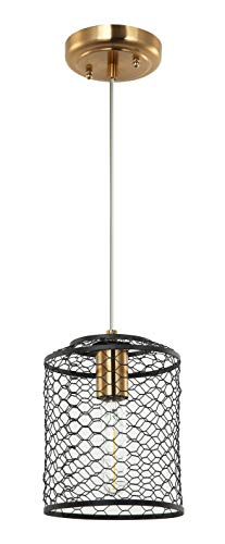 E-Like Original Chandeliers Lighting with 1 Light,Oiled Bronze and Satin Gold Finish,W6.3''H69.3'',E26 60W Bulb,Pendant,Chicken Wire Shade,Chandeliers for Dining ()