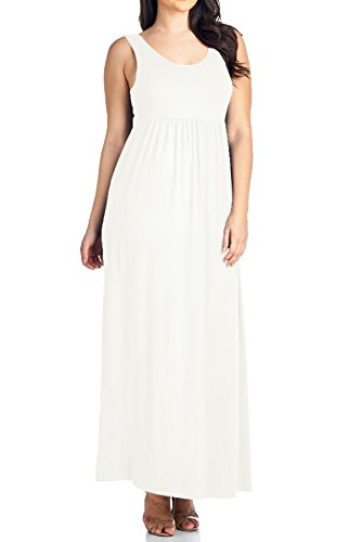 Beachcoco Women's Plus Size Maxi Tank Dress (3XL (Plus), White)