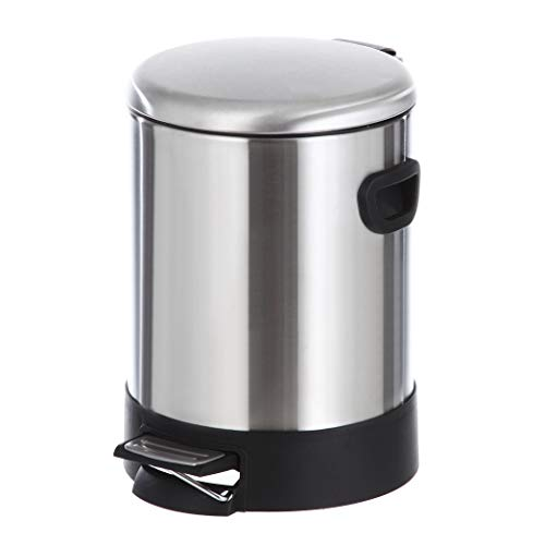 (Home Zone Stainless Steel Kitchen Trash Can with Round Design and Step Pedal | 5 Liter / 1.3 Gallon Storage with Removable Plastic Trash Bin Liner, Silver)
