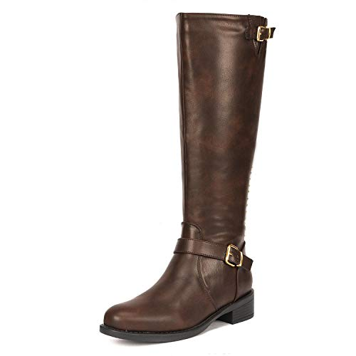 DREAM PAIRS Women's Intruder Brown Knee High Boots Size 9.5 B(M) US -