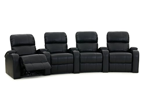 Octane Edge XL800 Row of 4 Seats, Curved Row in Black Leather with Power Recline (Curved Seat 4)