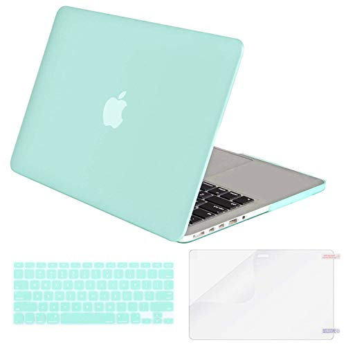 MOSISO Case Only Compatible MacBook Pro (W/O USB-C) Retina 13 Inch (A1502/A1425)(W/O CD-ROM) Release 2015/2014/2013/end 2012 Plastic Hard Shell & Keyboard Cover & Screen Protector, Mint Green
