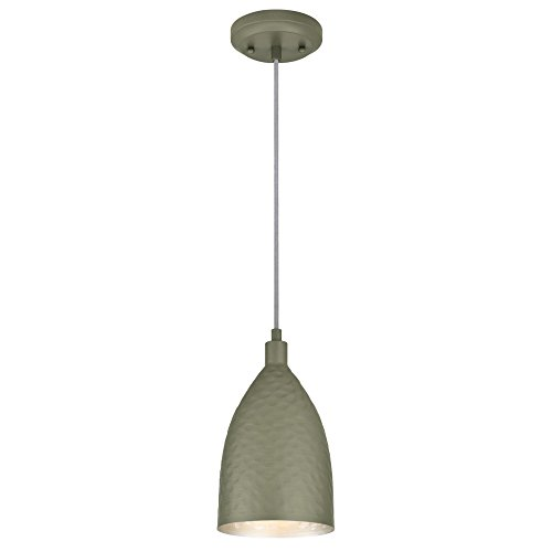 Hammered Silver Pendant Light in US - 7