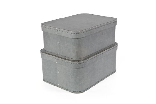 Bigso Love Canvas Paper Laminate Boxes, Grey, Set of (Fabric Covered Box)