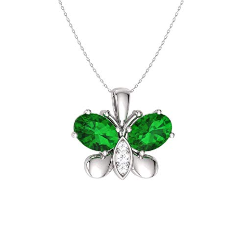Diamondere Natural and Certified Oval Cut Emerald and Diamond Butterfly Necklace in 14k White Gold | 0.60 Carat Pendant with - Wg Emerald Cut 14k Diamond