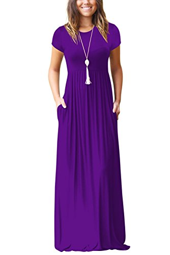 Dress Elegante Viola Line Vestito Unita Casual Da Sera 01 Sciolto Lunga Girocollo Minetom Abito Manica Maxi Lungo A Donna Cocktail Tinta BwCR5nxqU