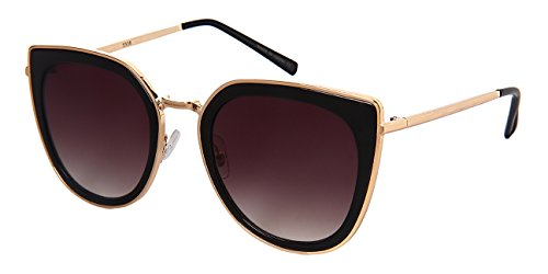 Edge I-Wear Square Cat Eye Sunnies w/Flat Ocean Color Lens 3306-FLOCR-4(BLK/GY - Wear Sunglasses Ocean