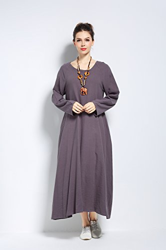 Anysize Robe Printemps Été Doux En Coton Lin Plus Robe Gris F146a
