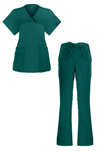 G Med Women's Y-Neck Scrub 2 Pockets Top and Pant 2 PC Fashion Sets(SET-MED,LBLA2-2XL)