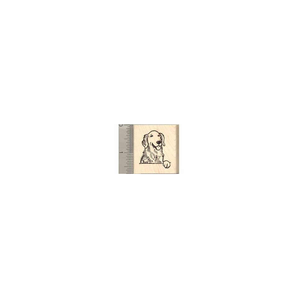 Golden Retriever Dog Rubber Stamp   Wood Mounted
