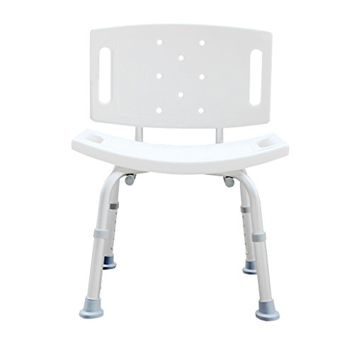 wer Chair for The Elderly Pregnant Woman,Aluminum Alloy Non-Slip Heavy Duty Adjustable Shower Chair, Portable Shower Seat, Adjustable Bath Seat, Shower Seat with Back, White ()