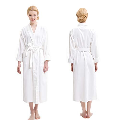 AQUIS - White Soft Waffle Weave Robe, Ultra Absorbent & Fast Drying Microfiber Robe - Waffle Robe Pique