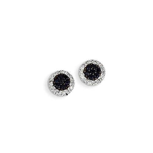 Heart Gold Diamond Circle Earrings (ICE CARATS 14kt White Gold Diamond Sapphire Circle Post Stud Ball Button Earrings Fine Jewelry Ideal Gifts For Women Gift Set From Heart)